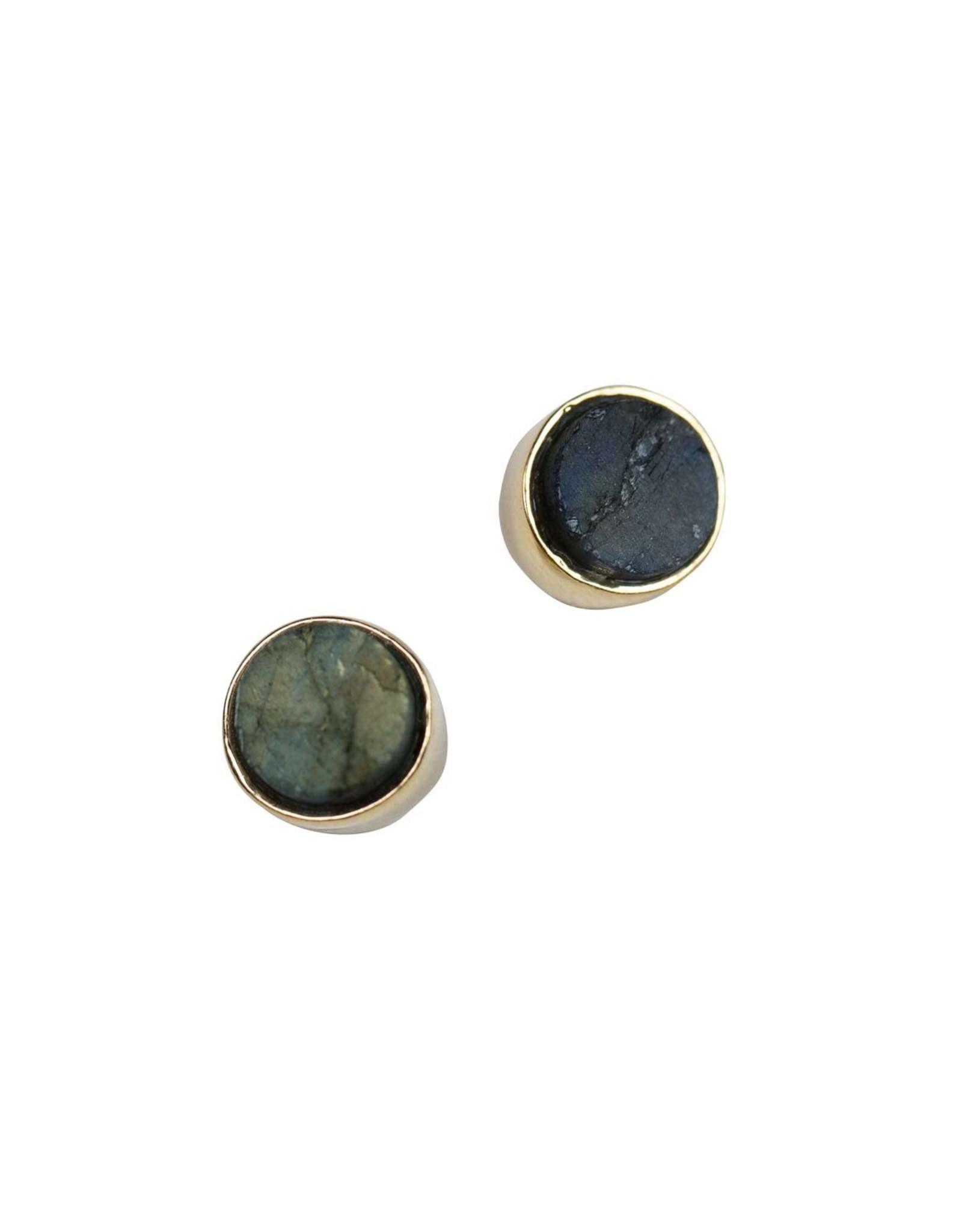 TTV USA Rough-cut Labradorite Post Earrings, India