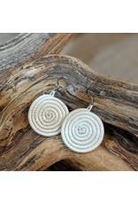 Soko Home Woven Sisal Circle Earrings, White, Rwanda