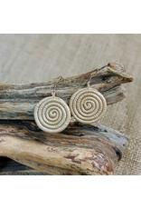Soko Home Woven Sisal Circle Earrings, Tea, Rwanda