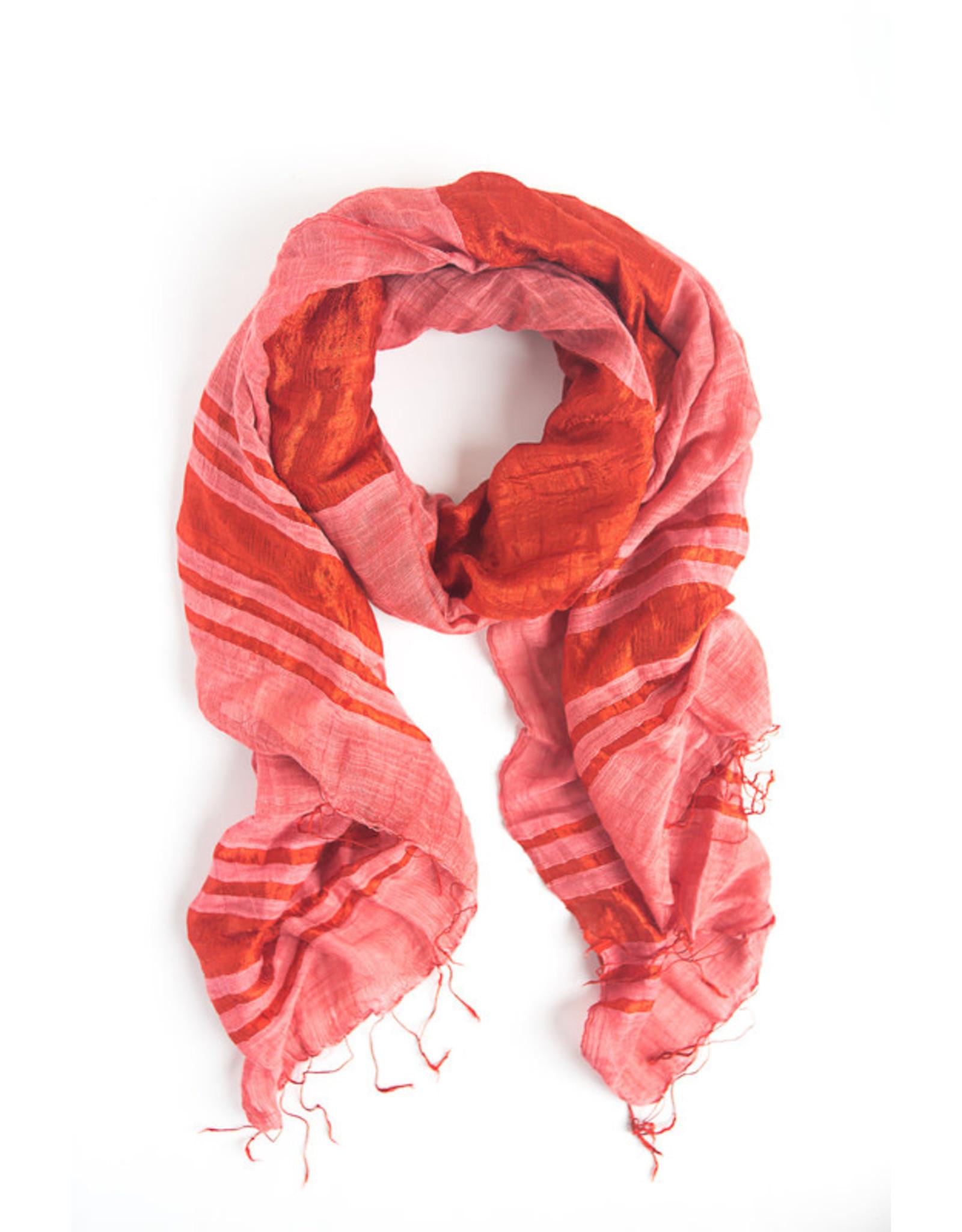 Fair Anita Silky Stripes Silk Linen Scarf, Tomato Red. Vietnam