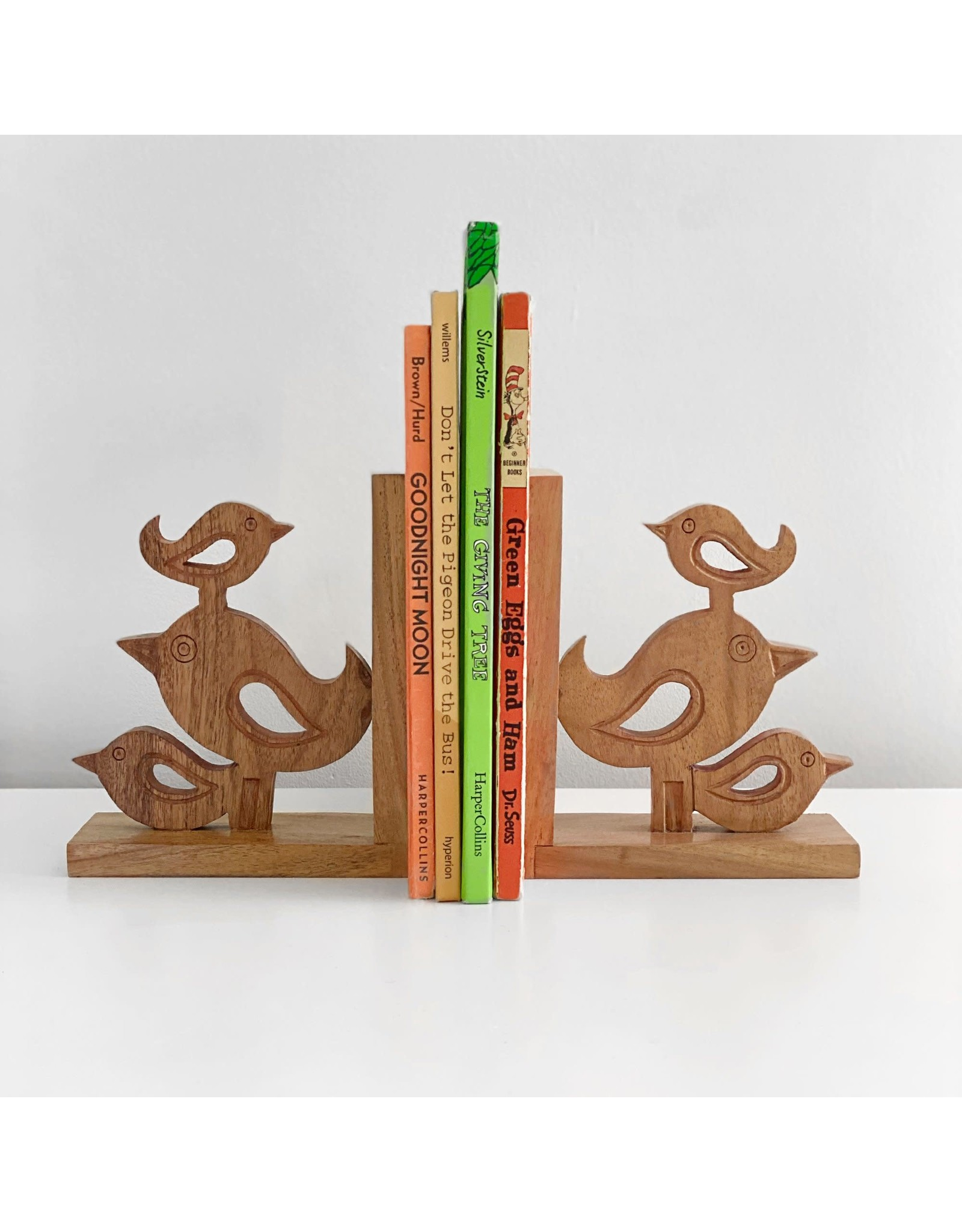 Global Crafts Handcarved Acacia Bird Book Ends, India