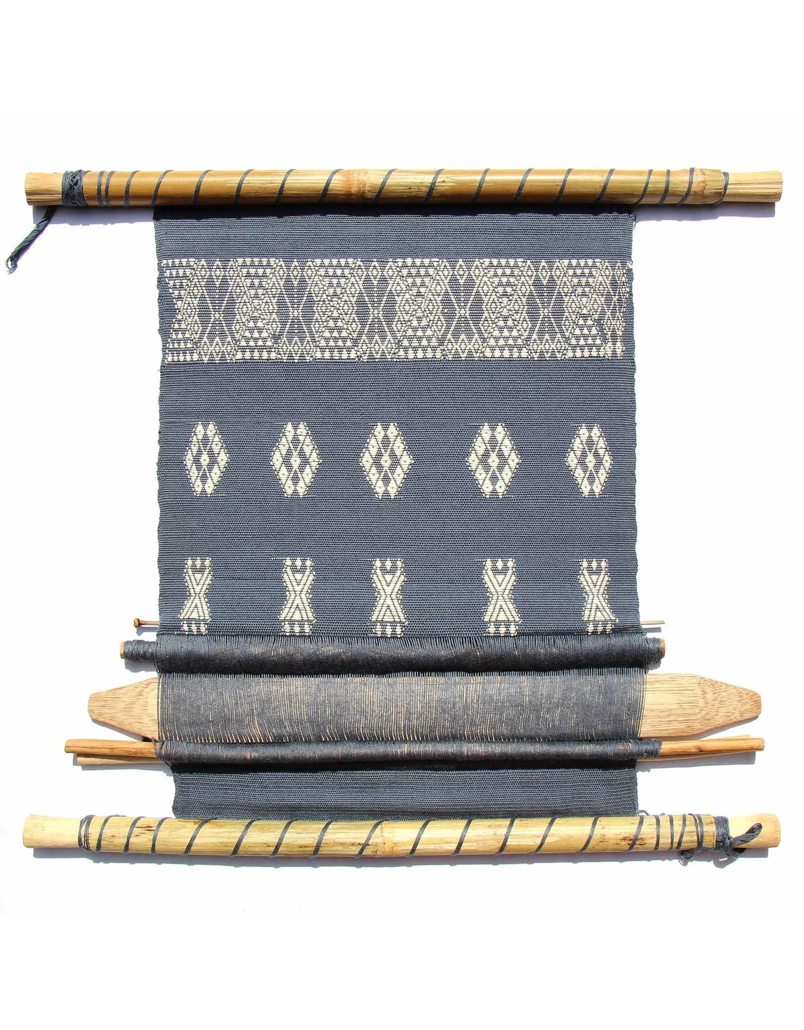 Global Crafts Handloom Wall Tapestry, Blue & White. Guatemala