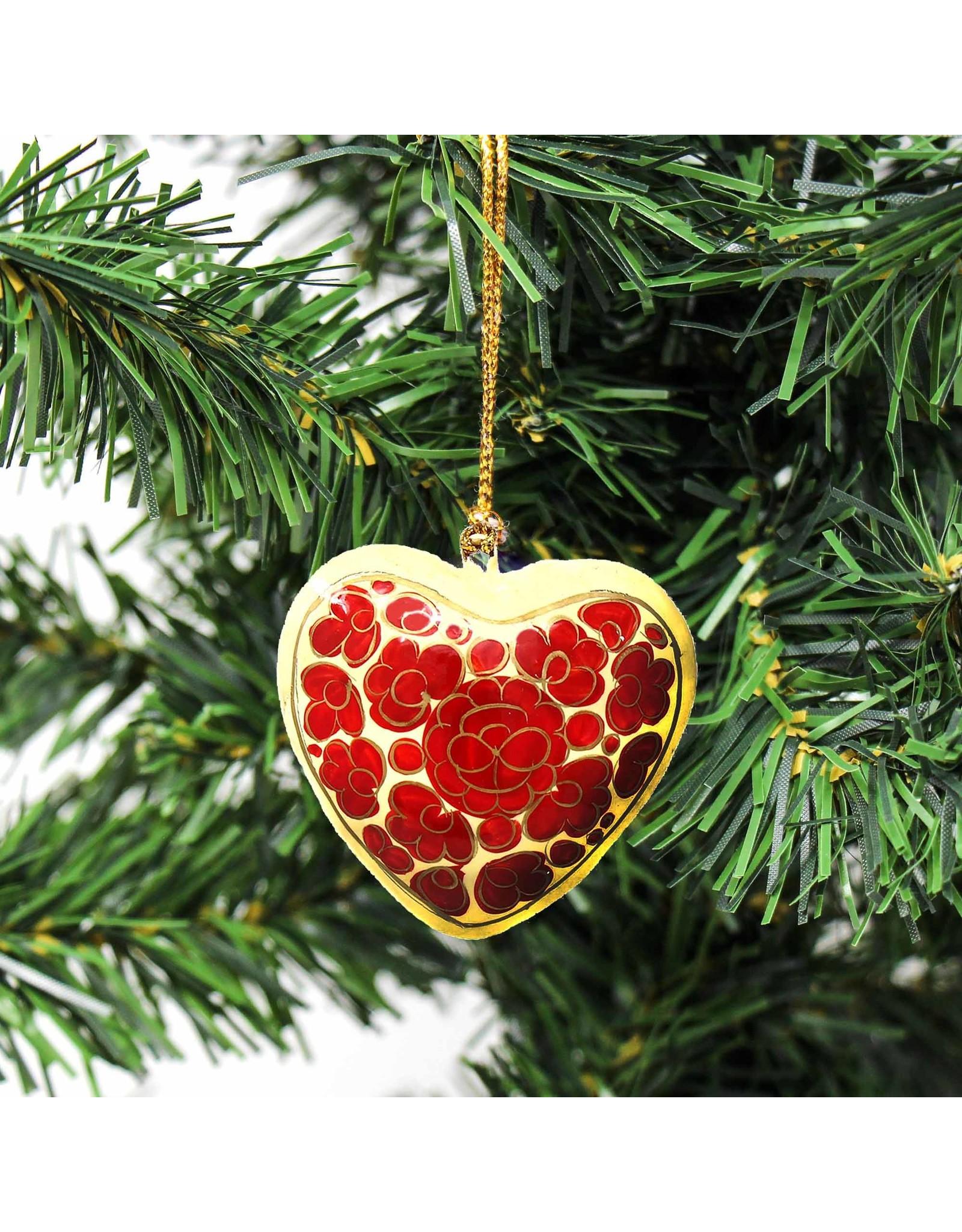 Global Crafts Hand-painted Papier-Mâché Ornament, Floral Heart, India