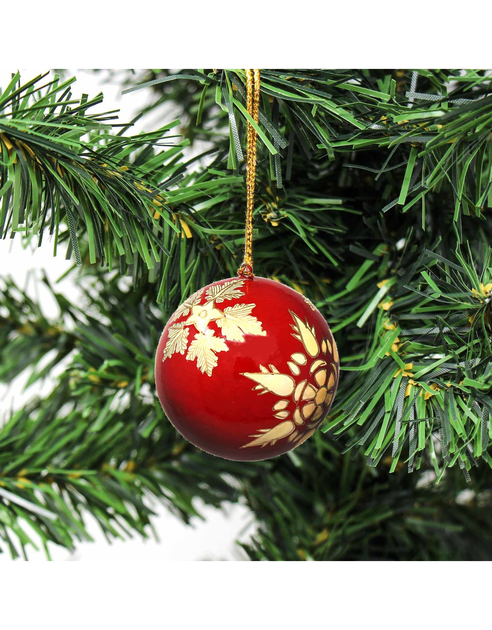 Global Crafts Handpainted Paper Mache Ornament, Red Snowflake. India