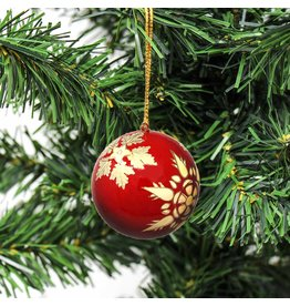 Global Crafts Handpainted Papier-Mâché Ornament, Red Snowflake, India