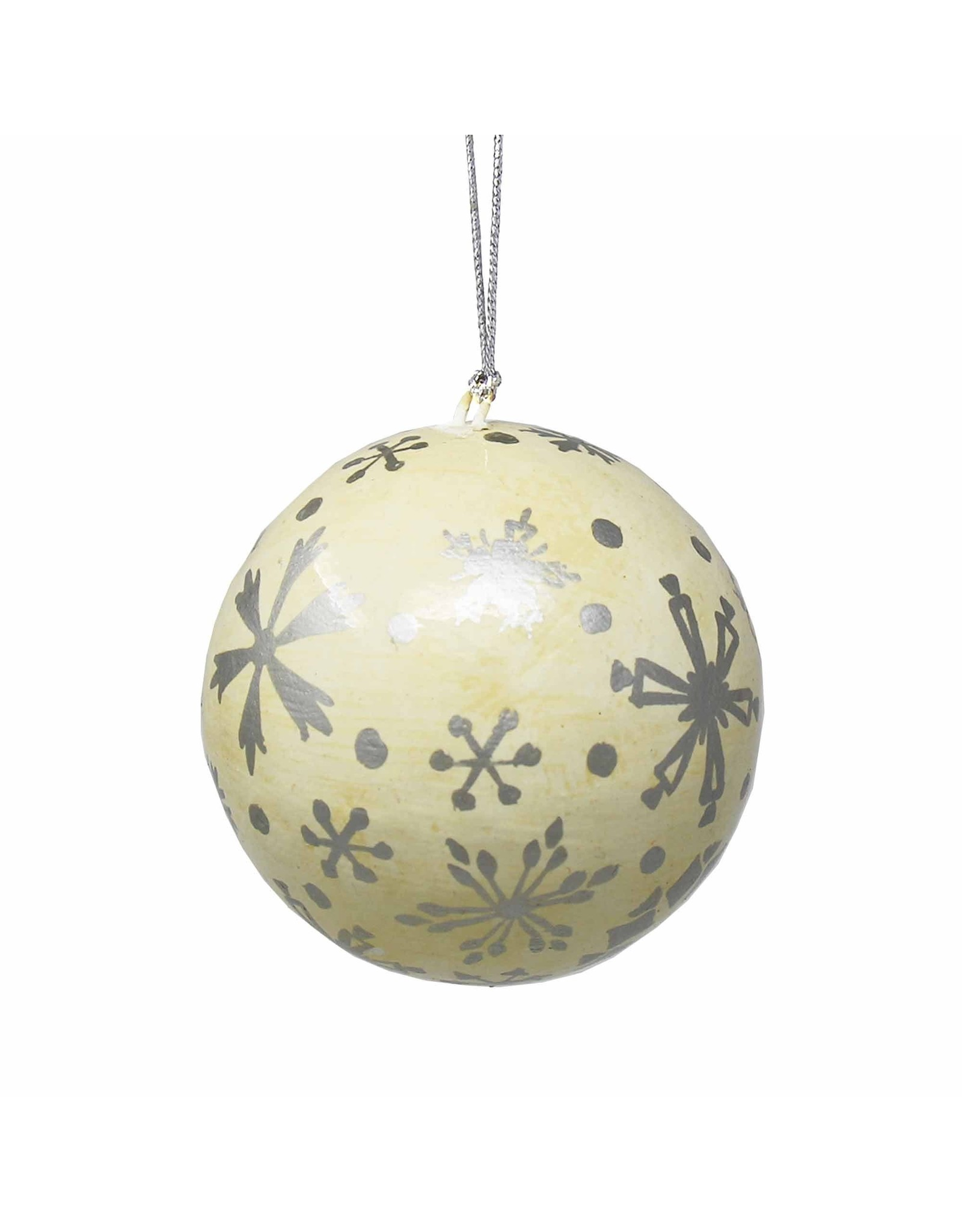 Global Crafts Handpainted Paper Mache Ornament, Silver Snowflake. India