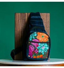 Lucia's Imports Floral Embroidered Harp Backpack, Guatemala