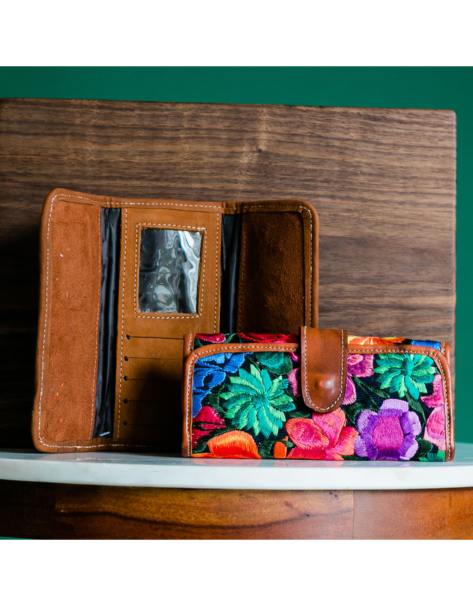 Lucia's Imports Floral Embroidered Leather Wallet, Guatemala