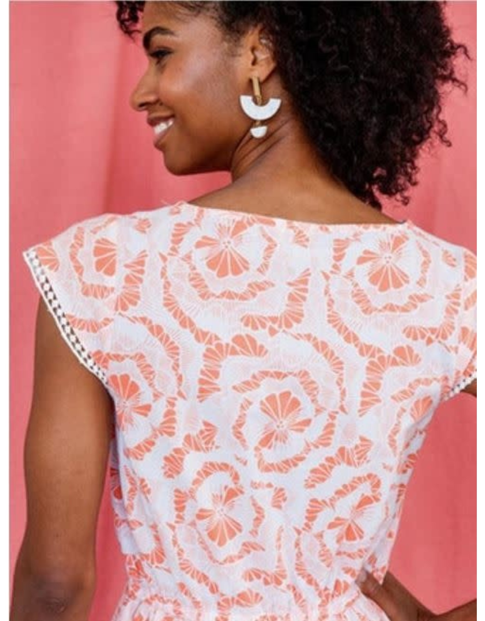 Dotted Trim Dress, Coral. India
