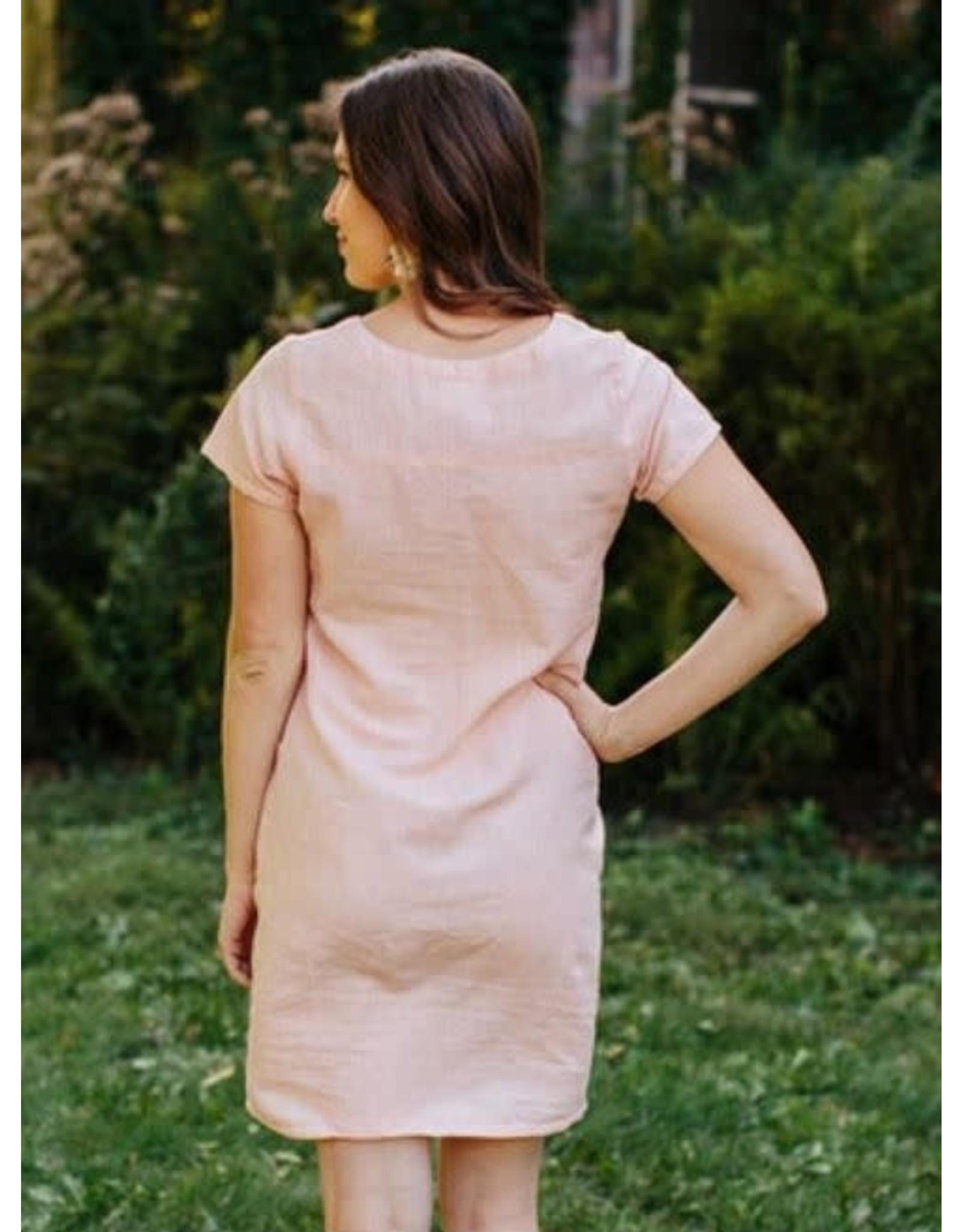 Kensington Dress, Pink Linen. Nepal