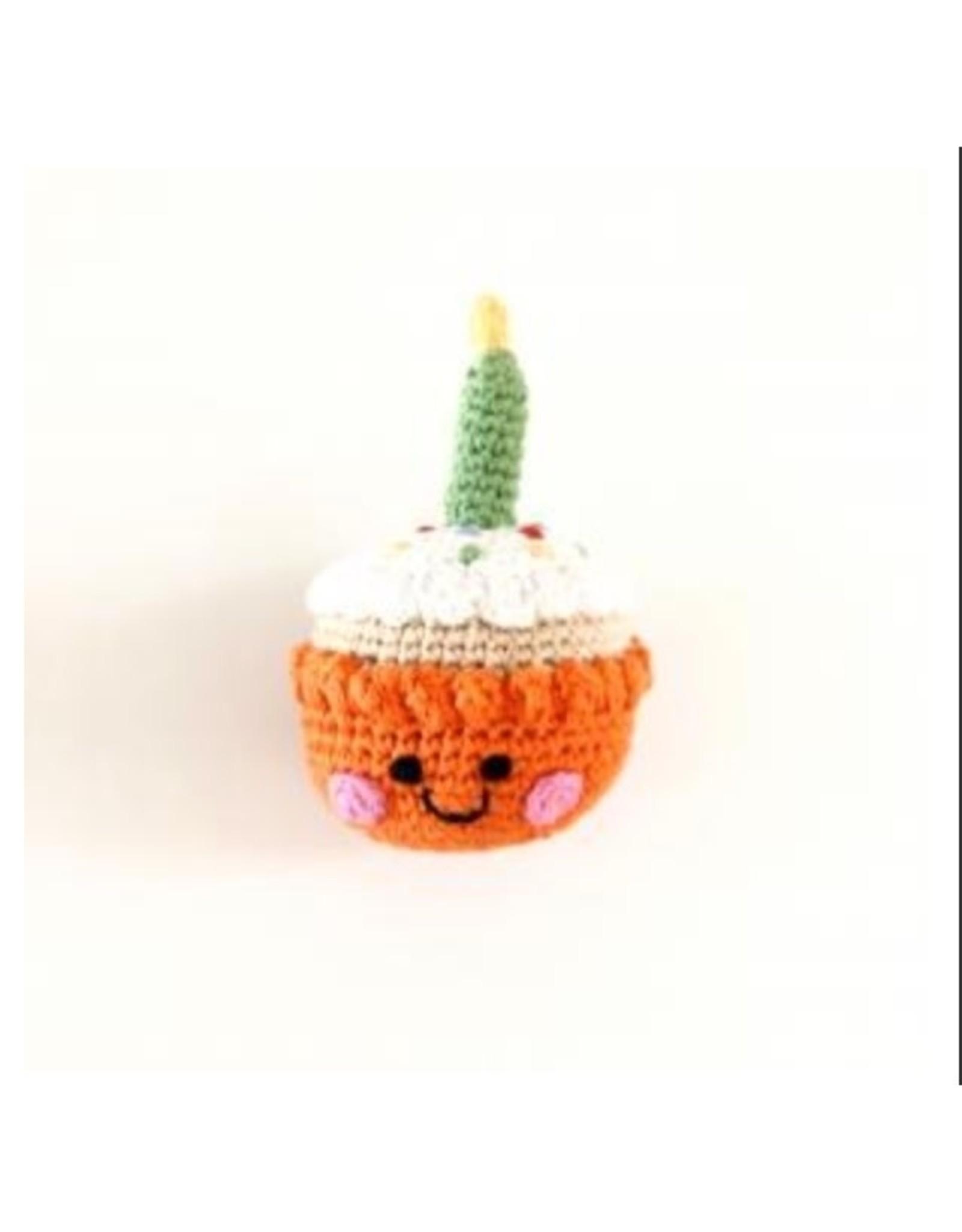Pebble Orange Cupcake Rattle w/ Candle. Bangladesh