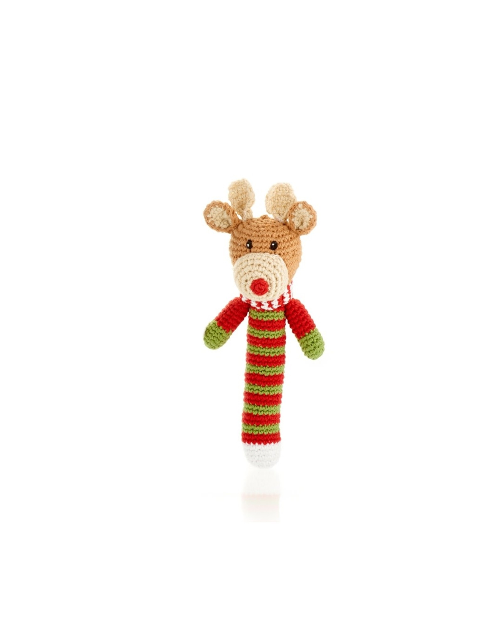 Pebble Holiday Stick Rattle, Assorted. Bangladesh