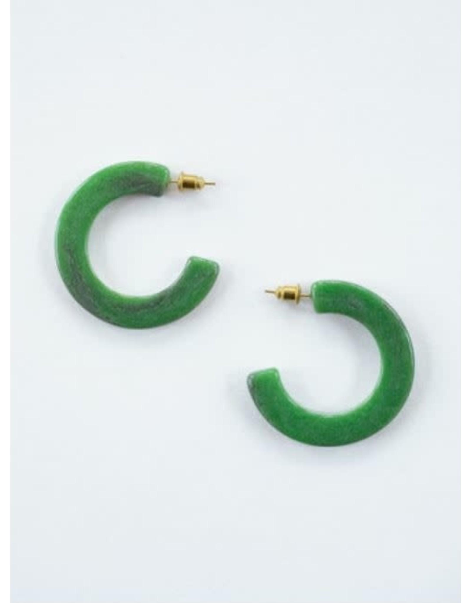 Jade Green Resin Hoop Earrings, India