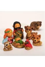 Lucuma Woodsy Ceramic Nativity. Peru