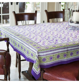 Fair Trade Winds Wisteria Blossom Block Print Tablecloth, India