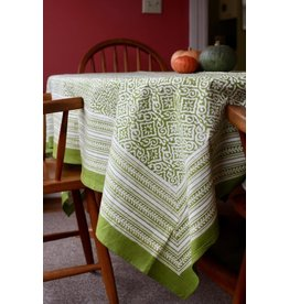 Fair Trade Winds Jaipur Green Block Print Tablecloth, India