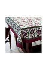 Fair Trade Winds Crimson Aster Block Print Tablecloth, India