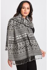 Sevya Geometric Jacquard Wool Shawl, India