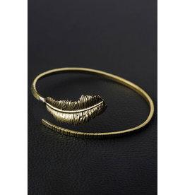 Sevya Brass Golden Feather Bracelet, India