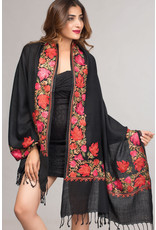 Sevya Taj Embroidered Wool Shawl, India
