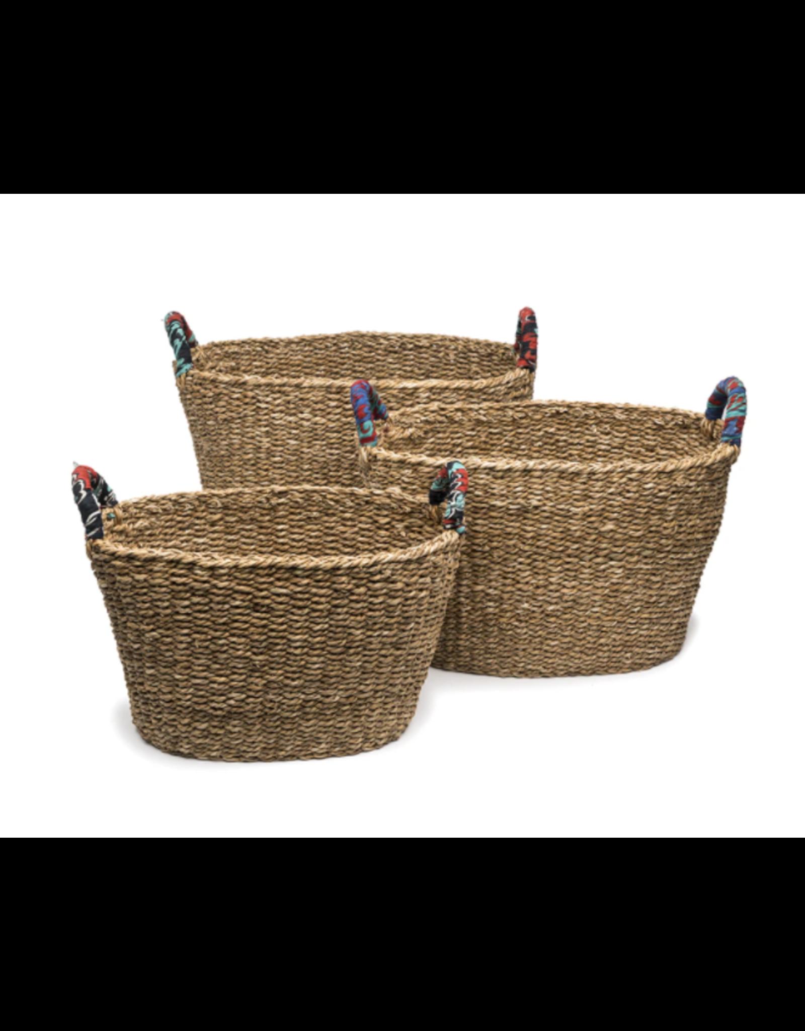 Matr Boomie Sari Handle Floor Baskets, set of 3. India