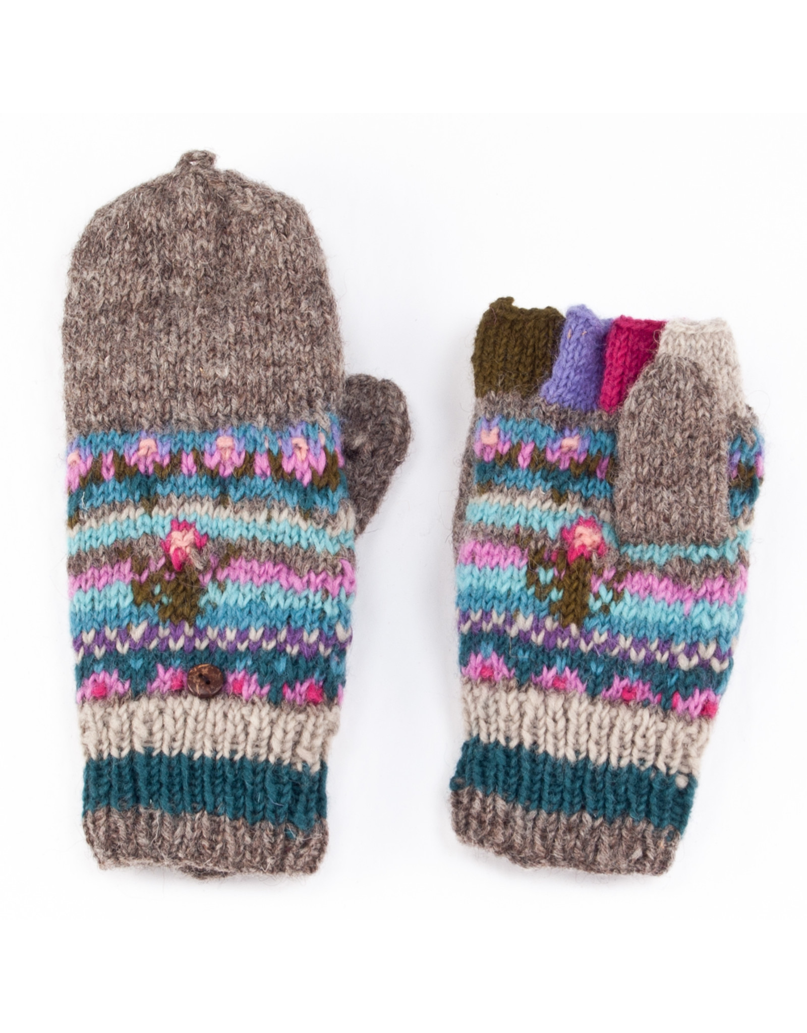 Lost Horizons Galena Knit Finger Mittens, Nepal.