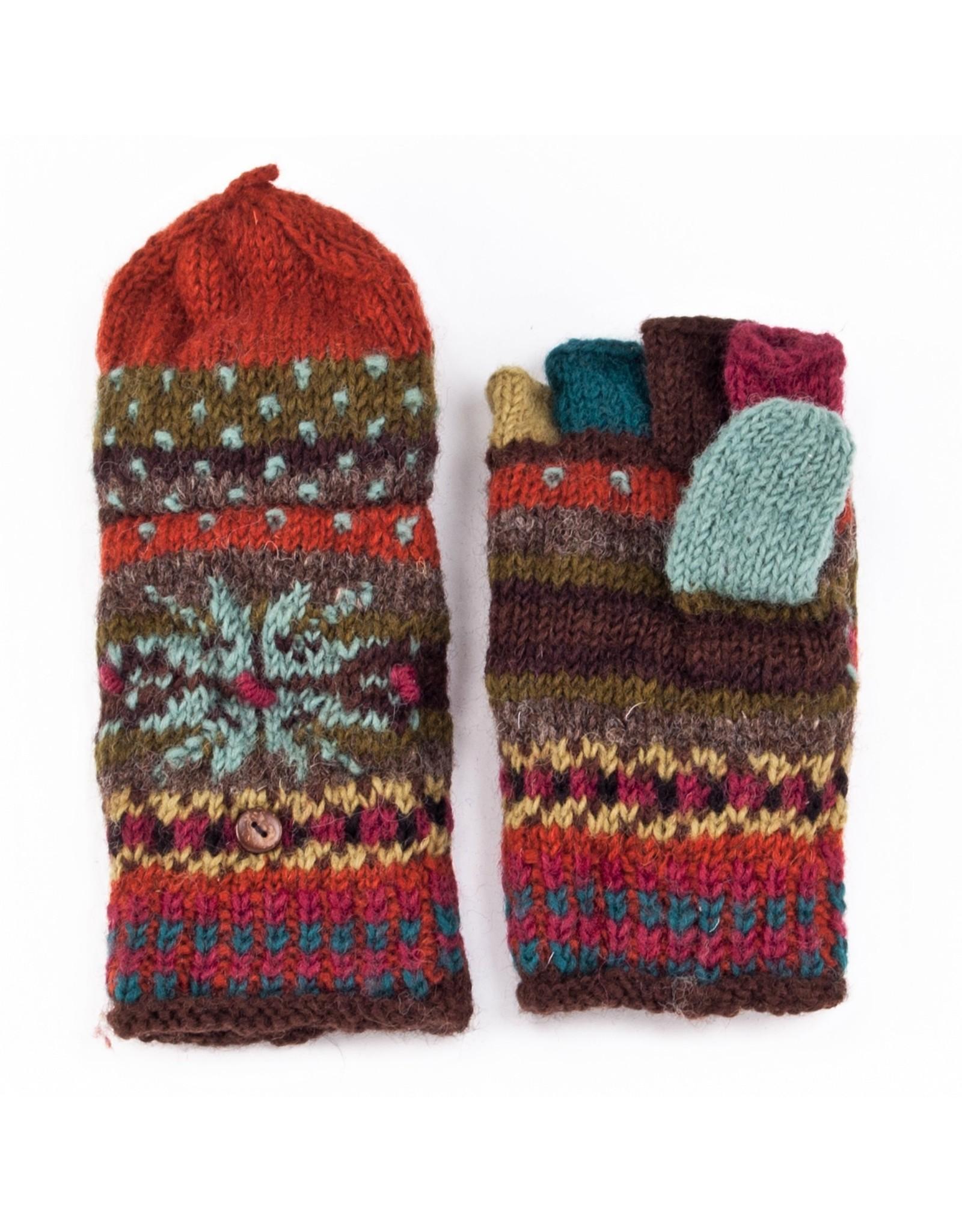 Lost Horizons Jasper Knit Finger Mittens, Nepal.