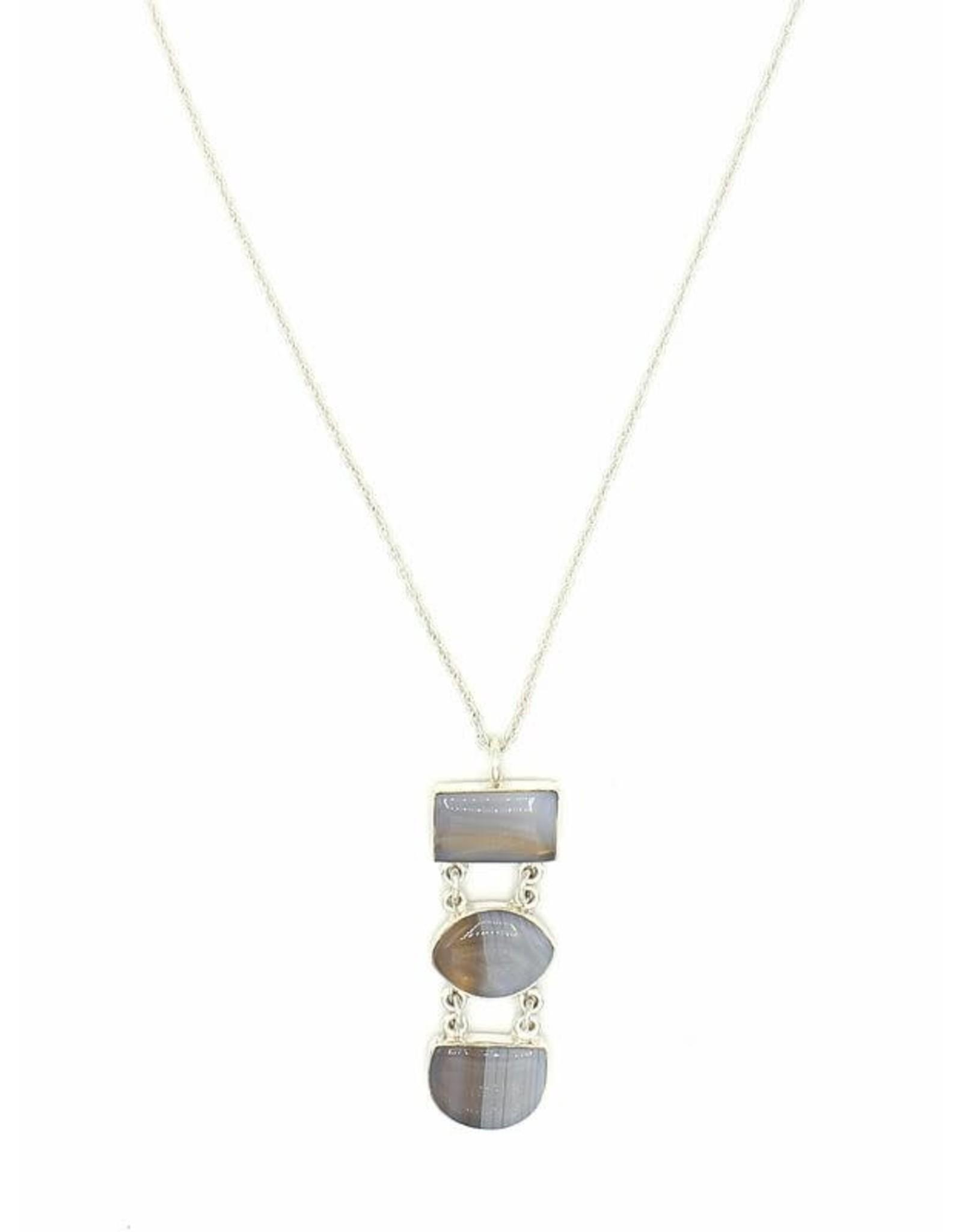 Fair Anita Snowfall Agate Pendant Necklace, India
