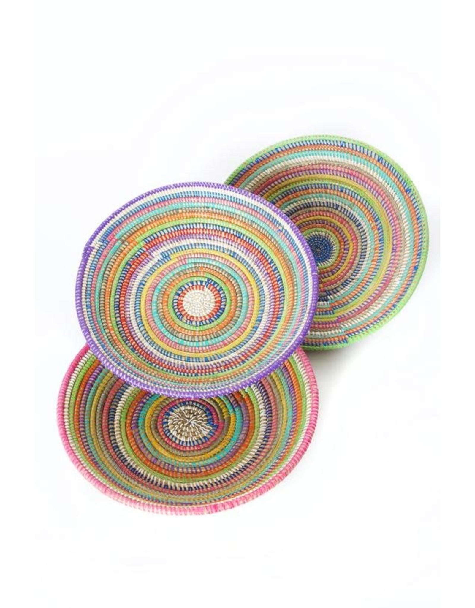 Swahili Wholesale Rainbow Stripe Grain Basket, Senagal