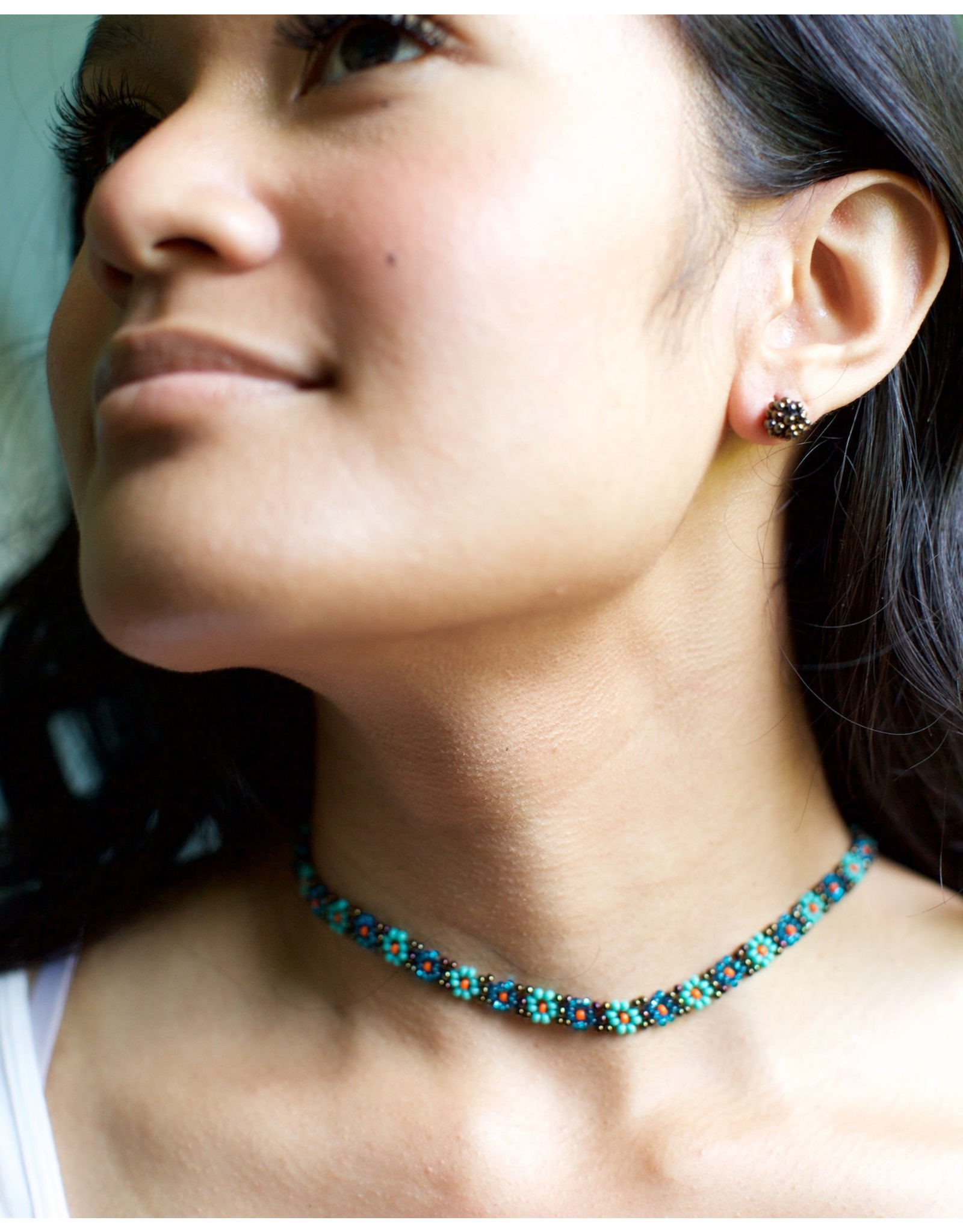 Lucia's Imports Beaded Flower Necklace, Guatemala