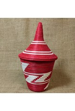 Soko Home Sisal Peace Basket, Red & White. Rwanda