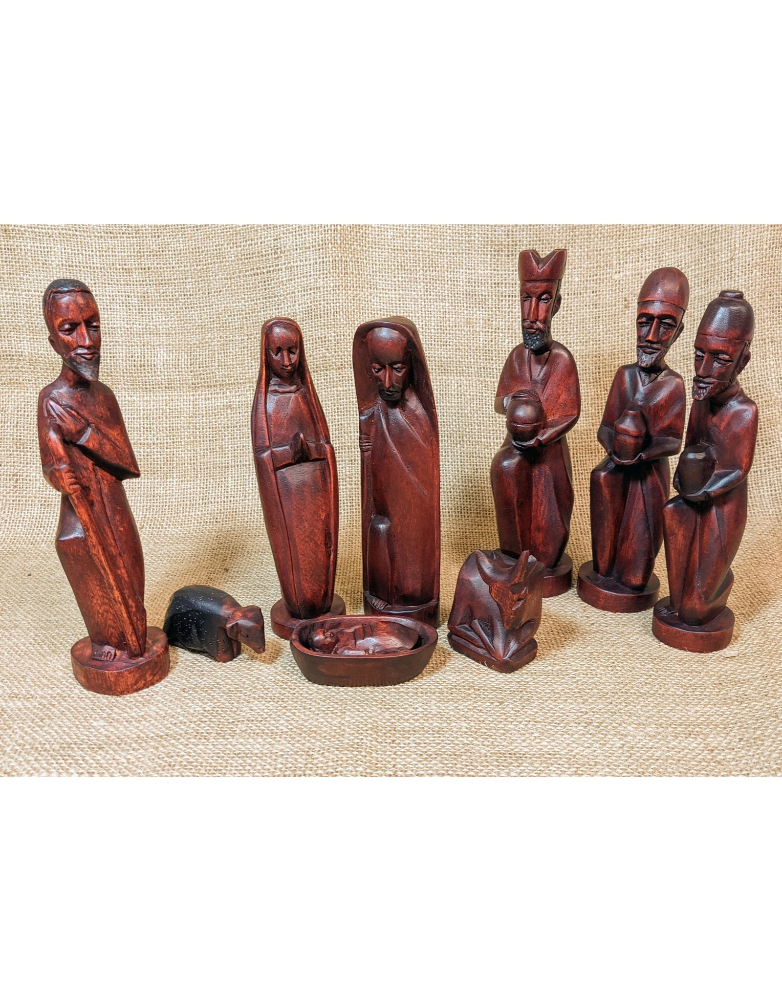 Soko Home Carved Nativity, Mahogany finish. Rwanda