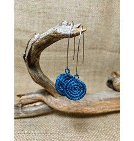 Soko Home Bright Blue Ziga Woven Earrings, Rwanda