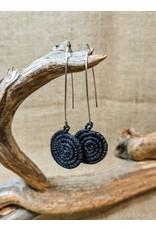 Soko Home Black Ziga Woven Earrings, Rwanda