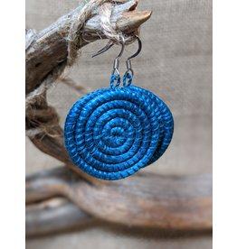 Soko Home Woven Sisal Circle Earrings, Bright Blue. Rwanda