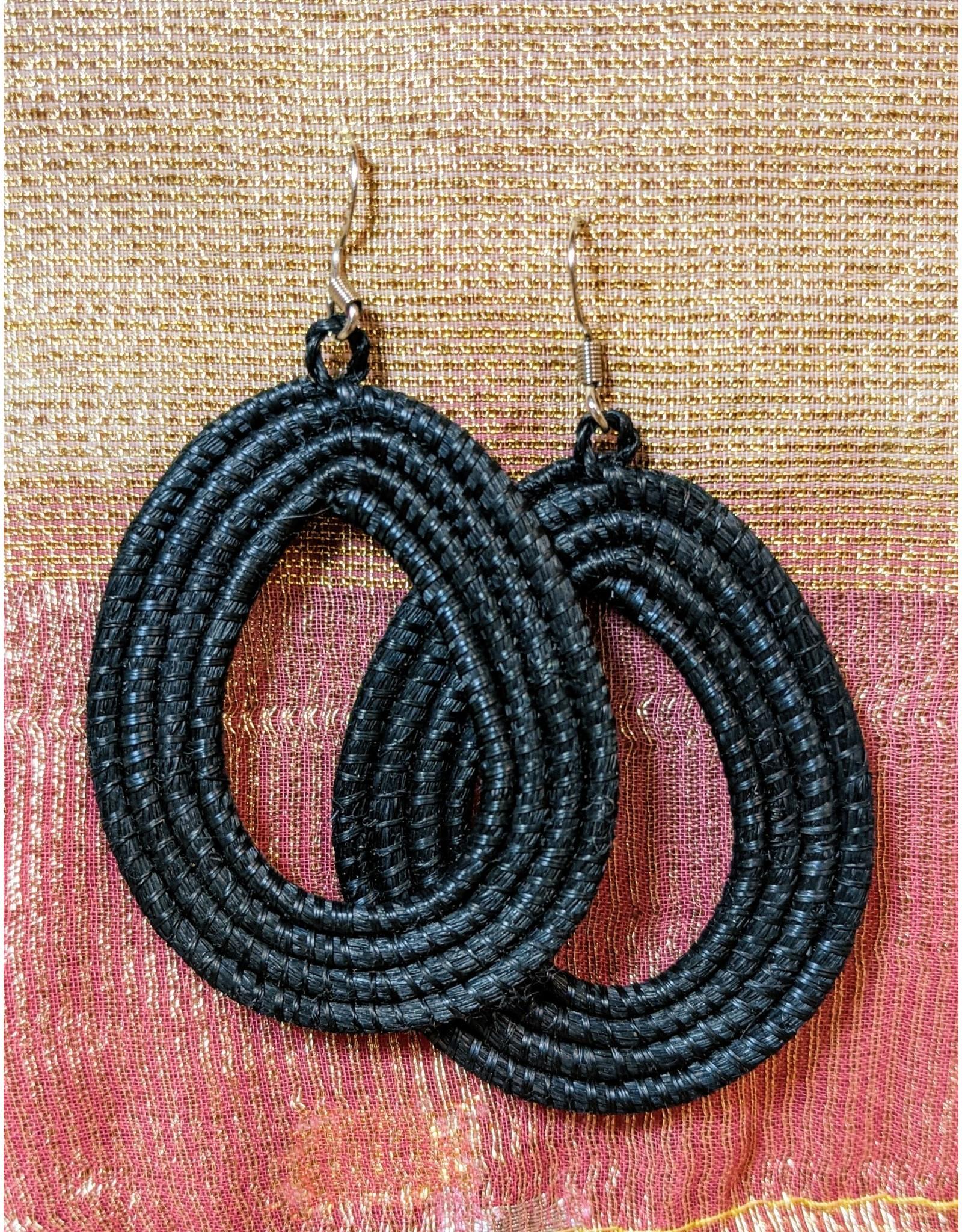 Soko Home Black Loop Earrings, Rwanda