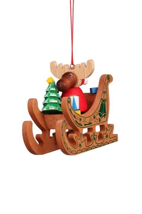10 0653 Moose Santa In Sled Ornament