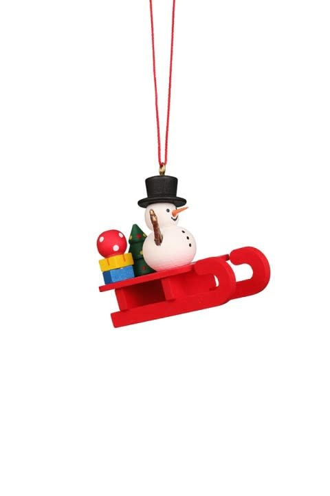 10 0432 Sled With Snowman Ornament