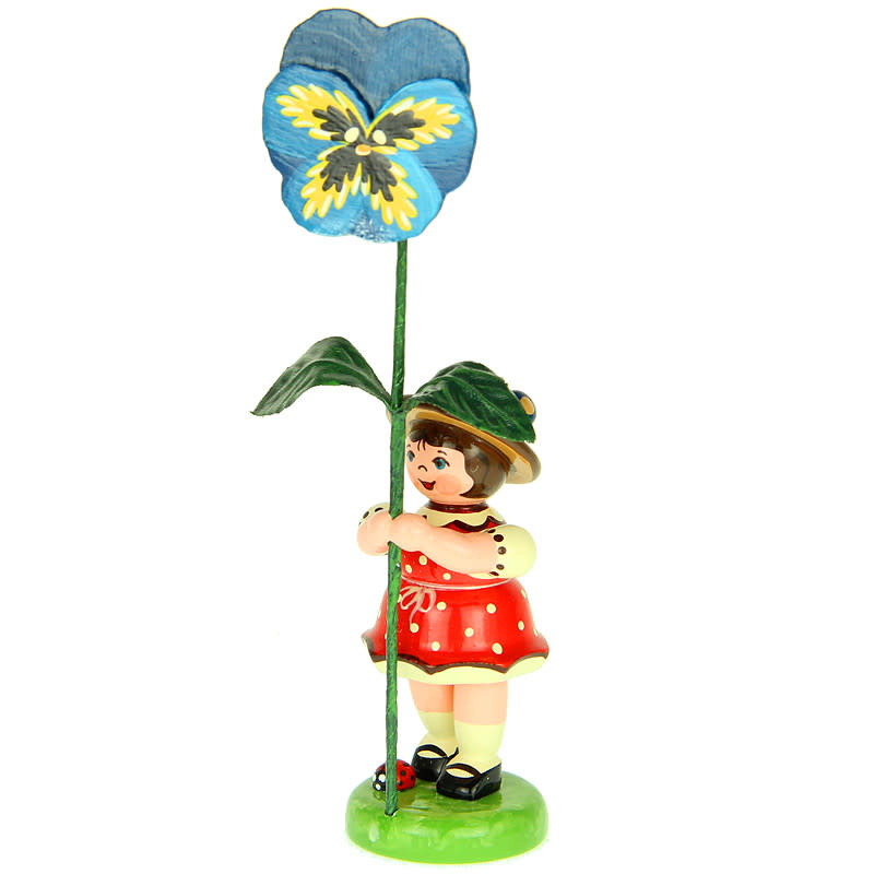 307h0011 Flower Children-Girl with Blue Pansy