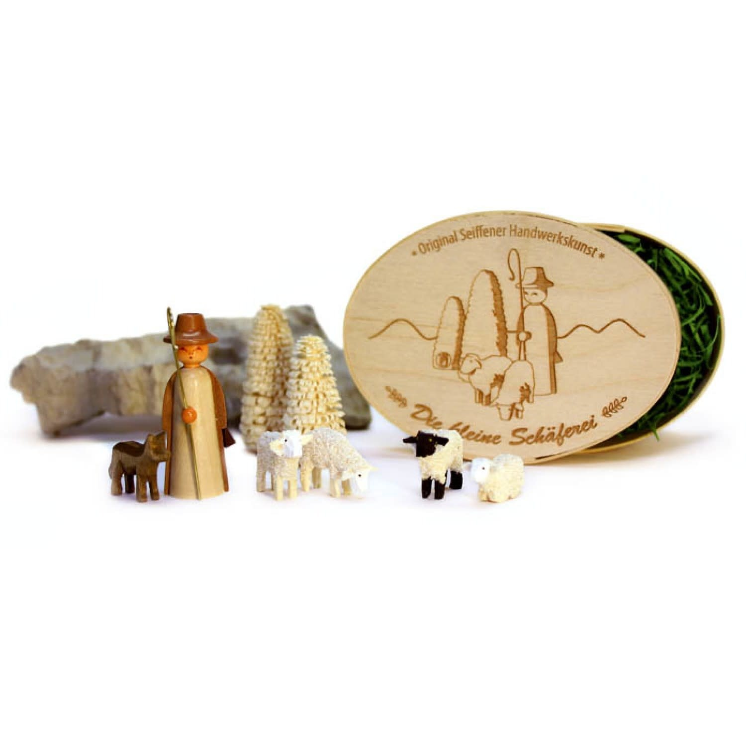 080/031 SD Shepherd with sheep and trees w/  Box