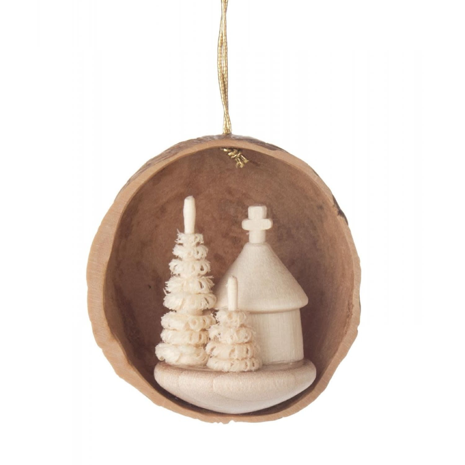 199/116 Walnut shell Ornament  with forest chapel