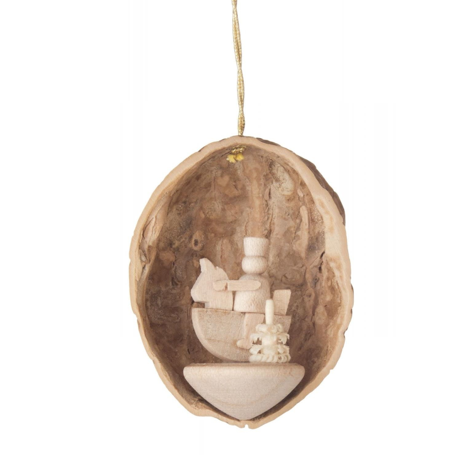 199/117   Walnut shell  Ornament with little rider