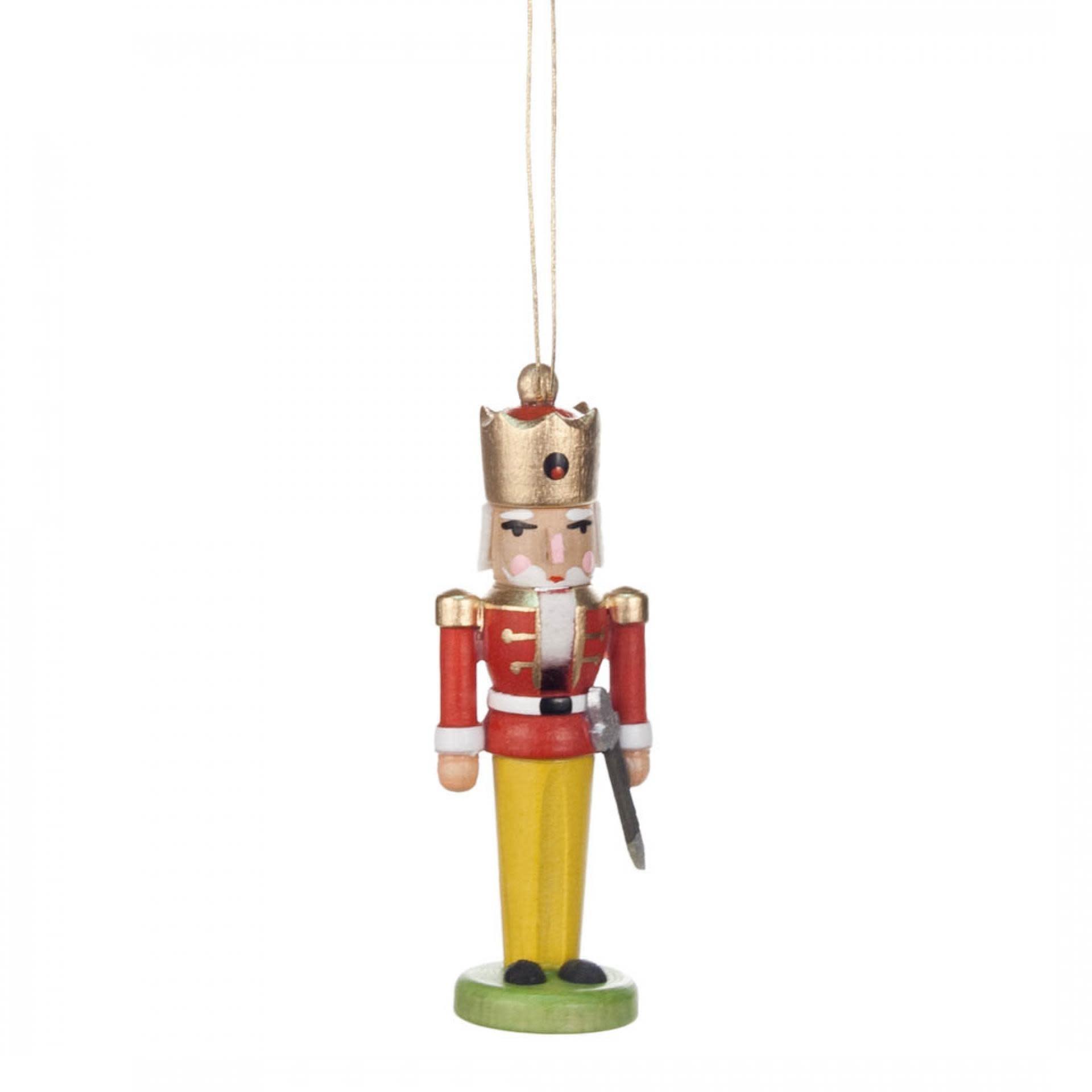 074/038F Mini Nutcracker King Red-Yellow Ornament