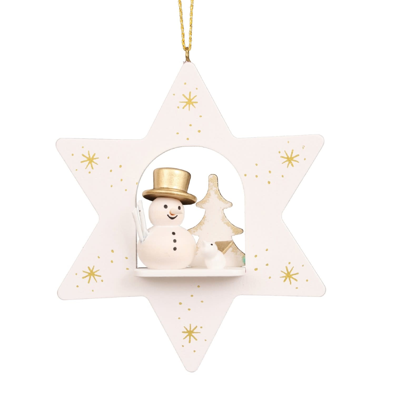 10 0665  Star White With Snowman Ornament