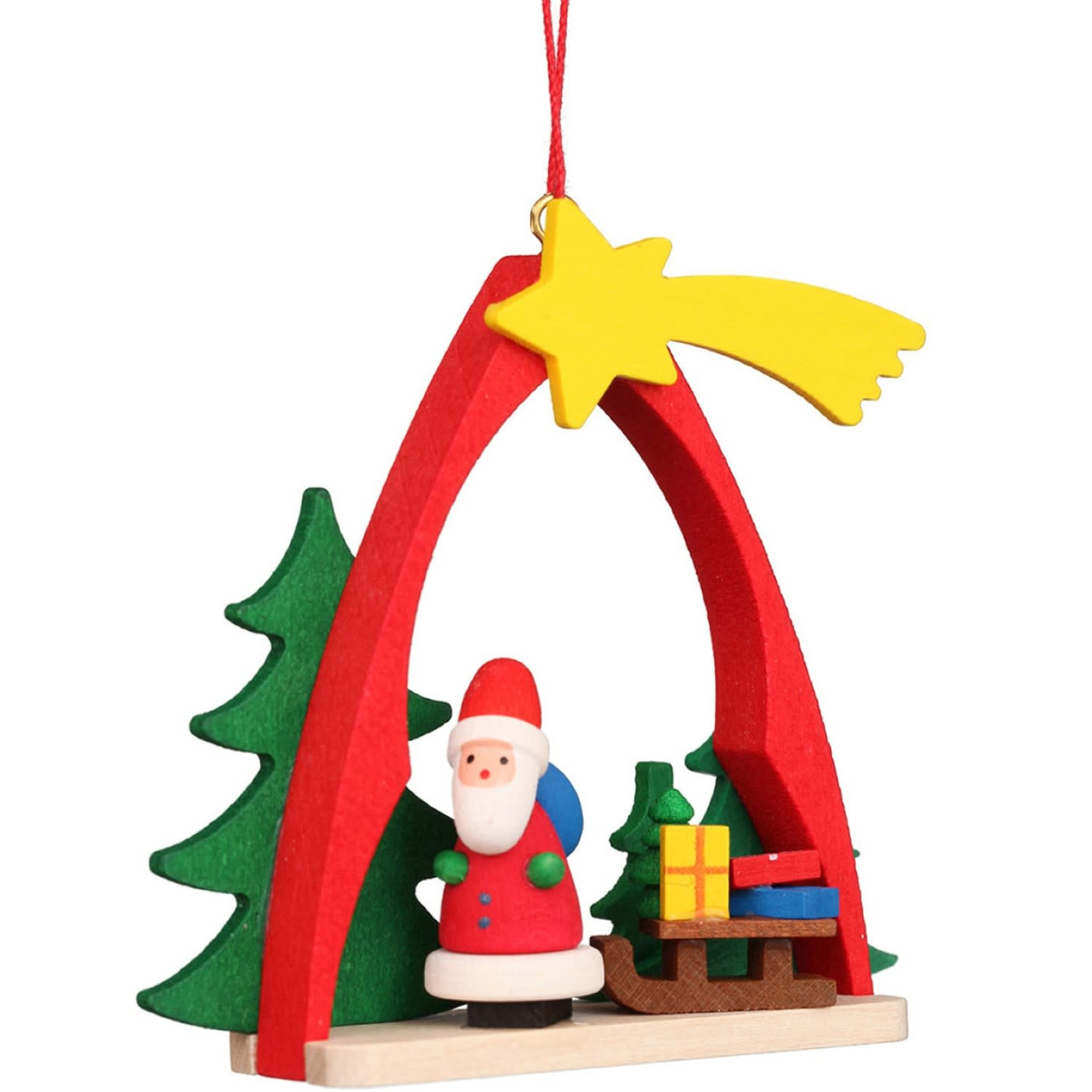 10-0862 Ulbricht Ornament - Santa with Sled in Arch