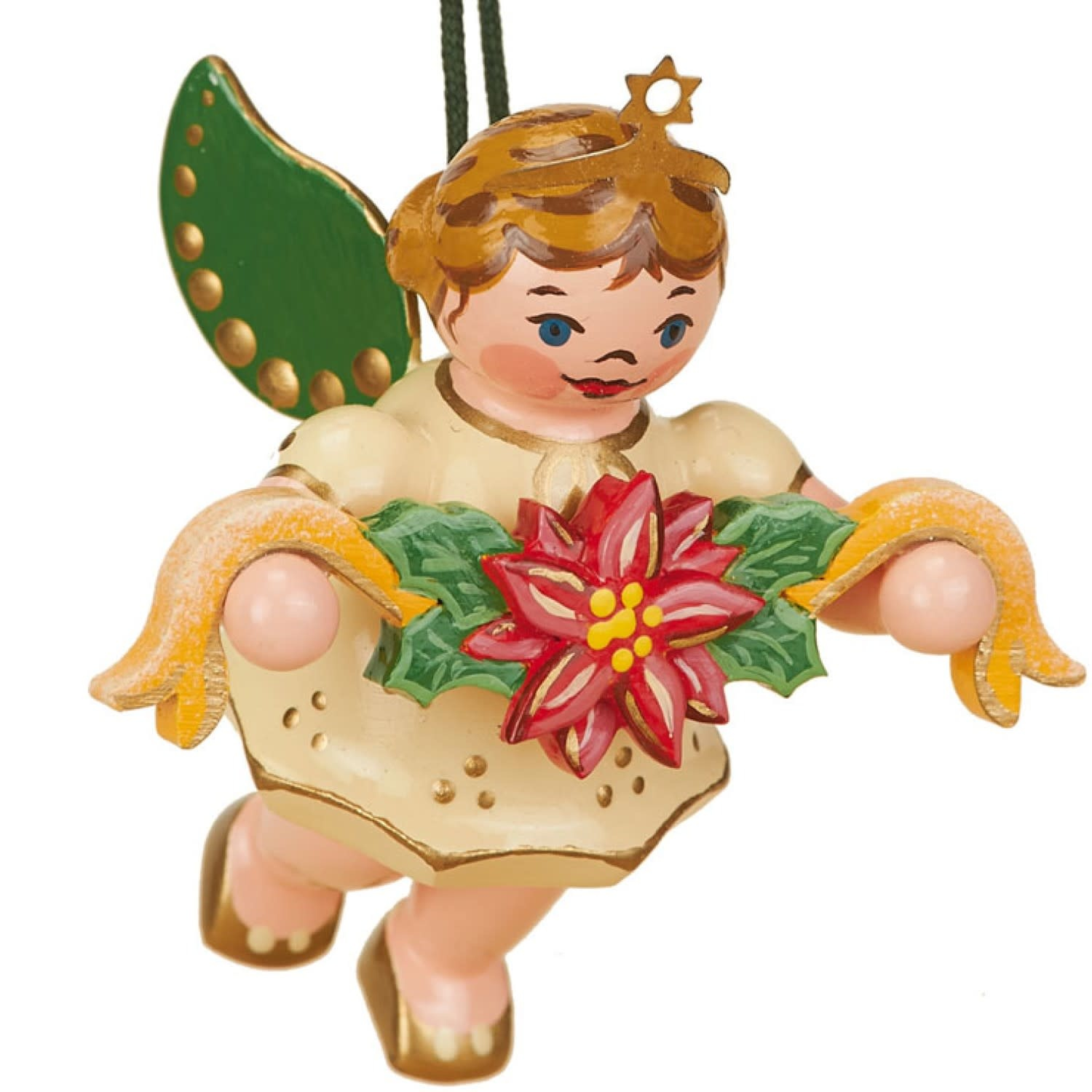 120h1005 Angel with Garland Ornament - 2.36 inches high