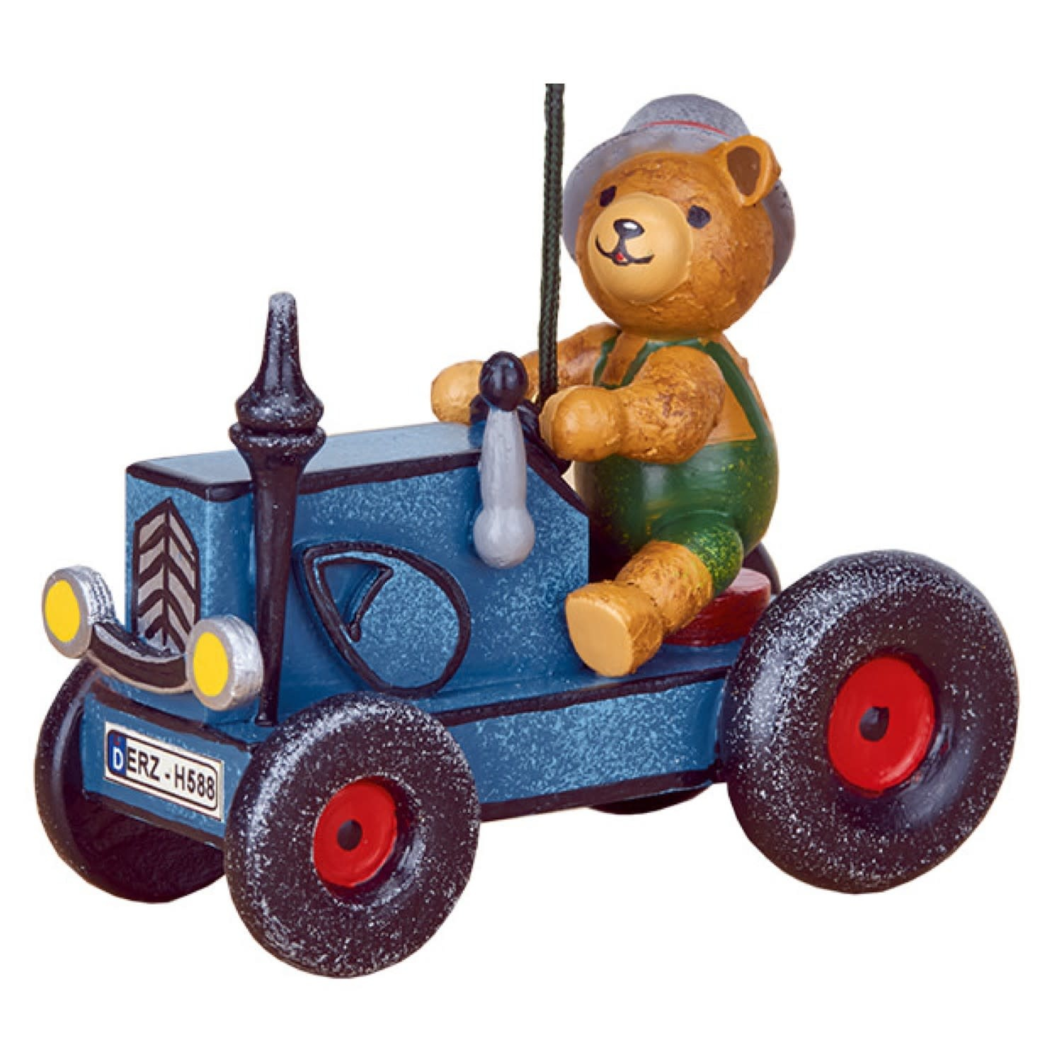 140h2006 Tractor with Teddy Ornament - 3 inches