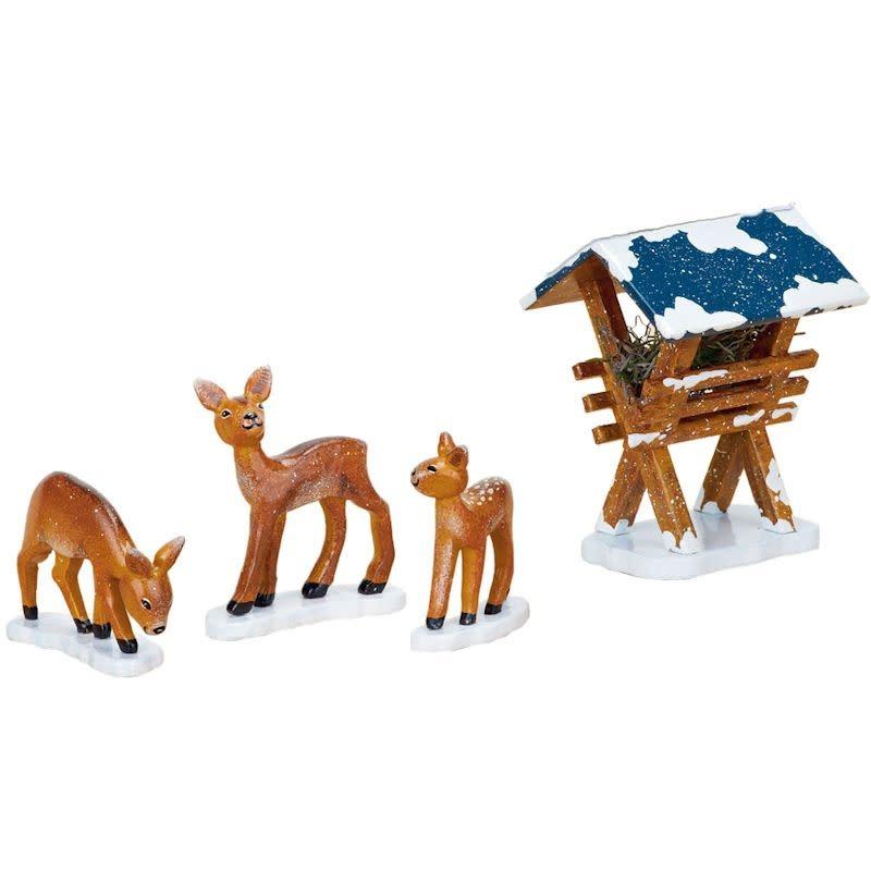 110h3009 Winter Children - Manger with 3 Deer