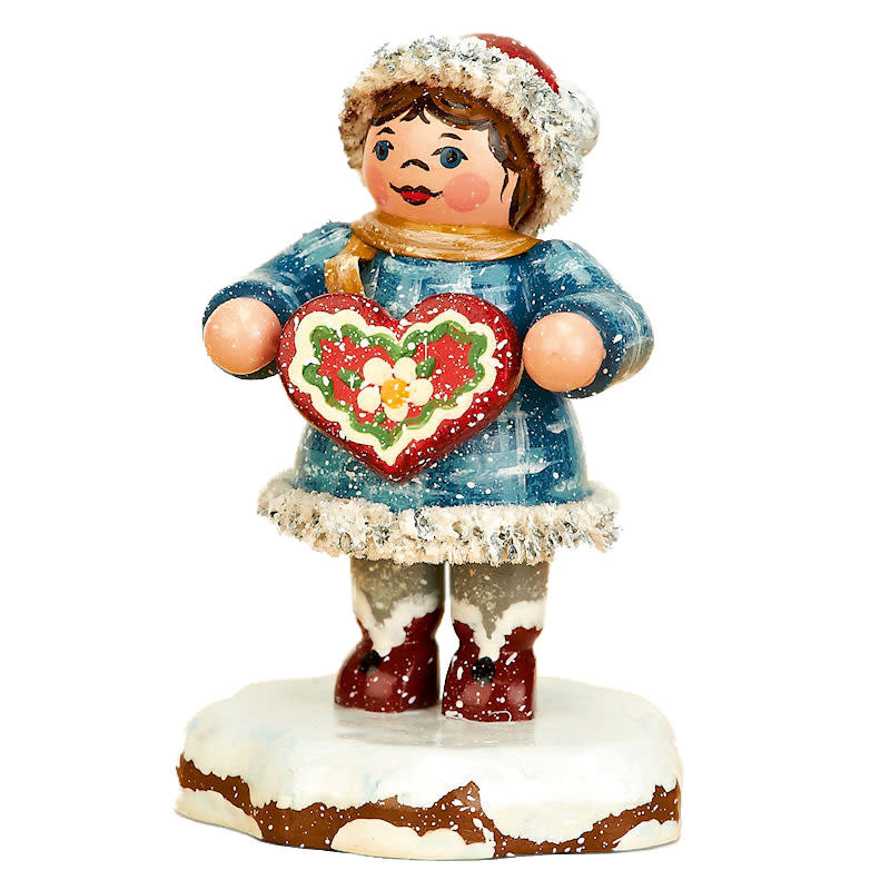 110h0029 Winter Children Girl With Heart Cookie