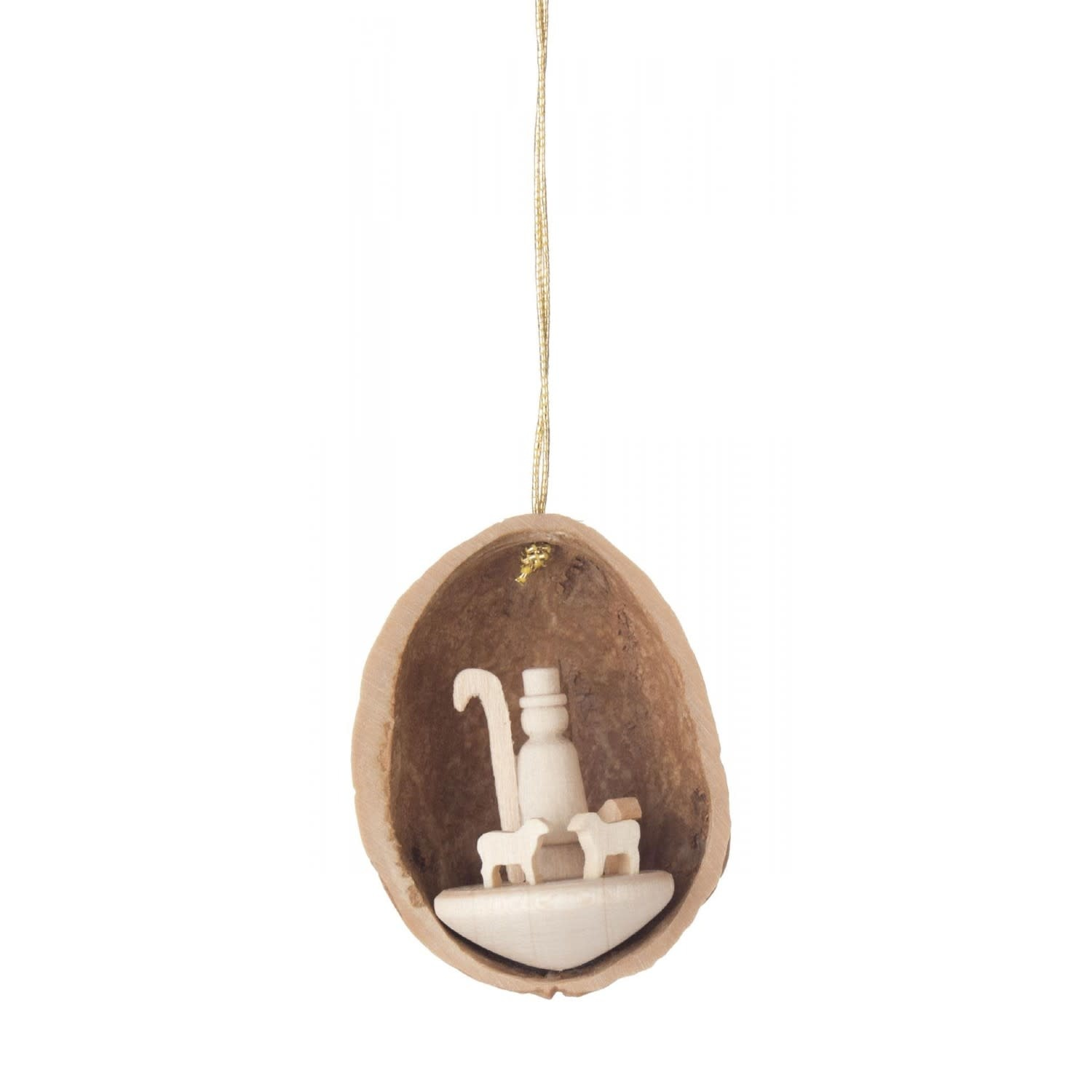 199/171 Walnut ornament shell hanging with sheep